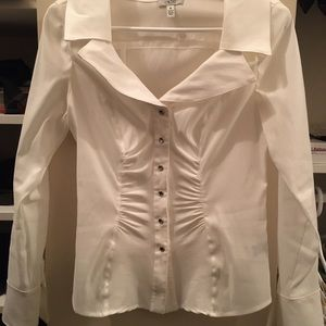 Cache ribbed button blouse
